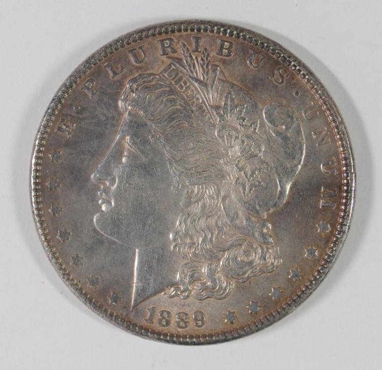 1889 MORGAN SILVER DOLLAR, CHOICE BU++ COLOR