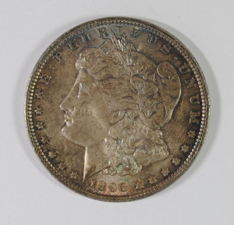1896 MORGAN SILVER DOLLAR, CHOICE BU  COLORS!