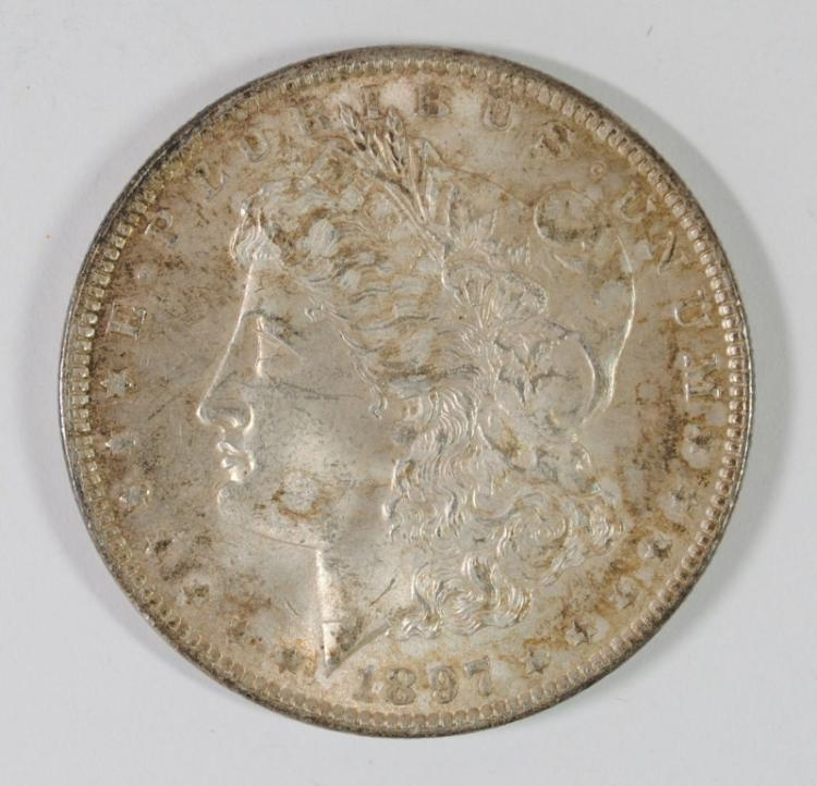 1897 MORGAN SILVER DOLLAR, CHOICE BU++ COLORS