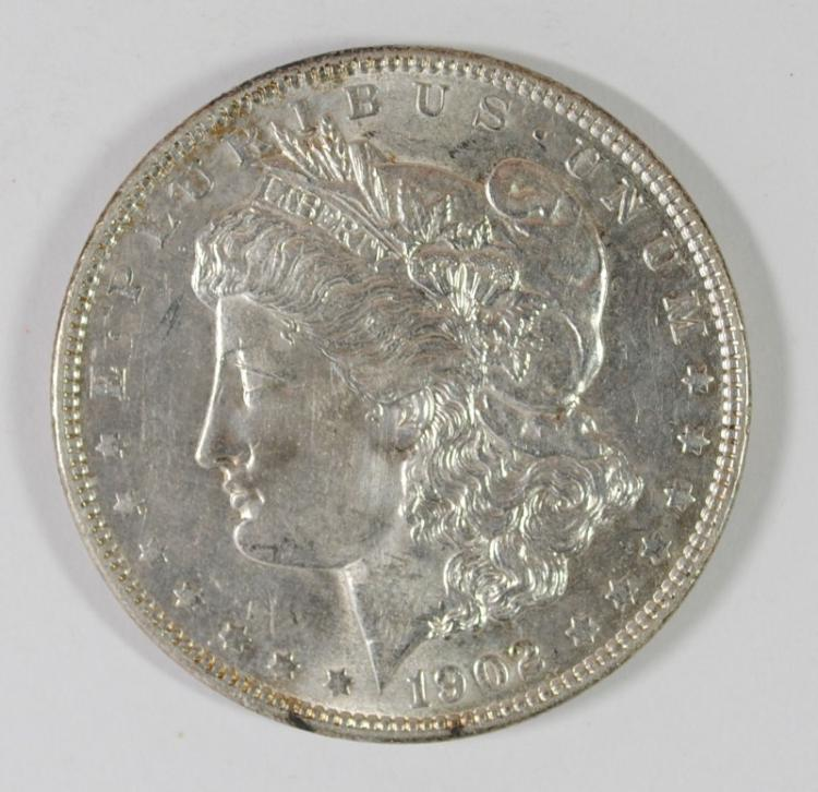 1902 MORGAN SILVER DOLLAR, CHOICE BU+ SCARCE