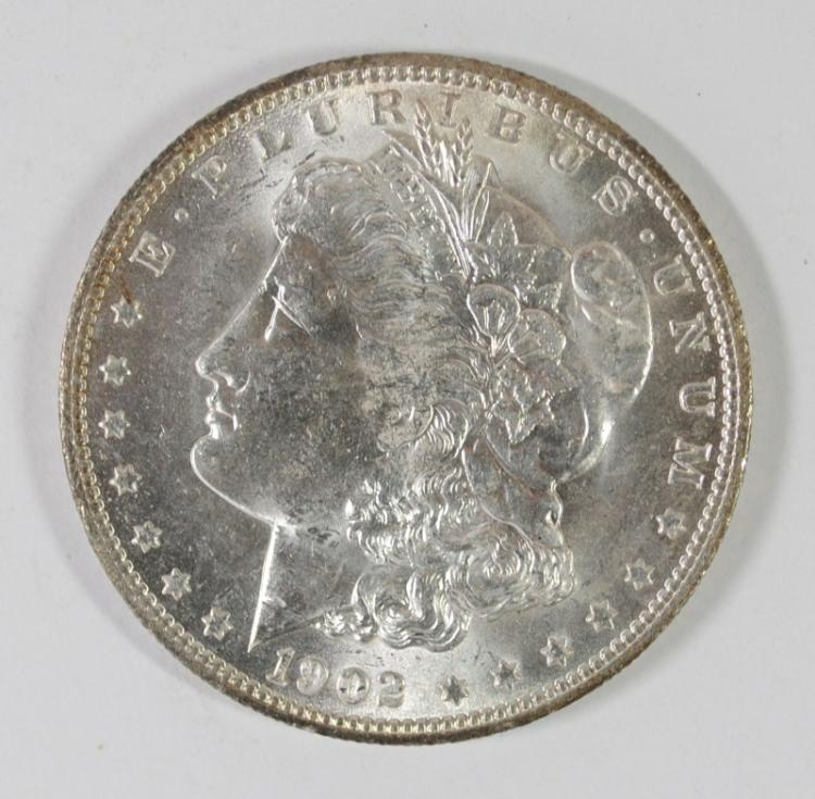 1902-O MORGAN SILVER DOLLAR, CHOICE BU