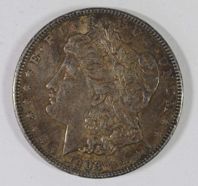 1903 MORGAN SILVER DOLLAR, CHOICE BU+  COLOR