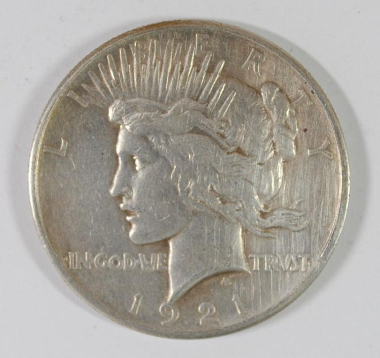 1921 PEACE SILVER DOLLAR, XF
