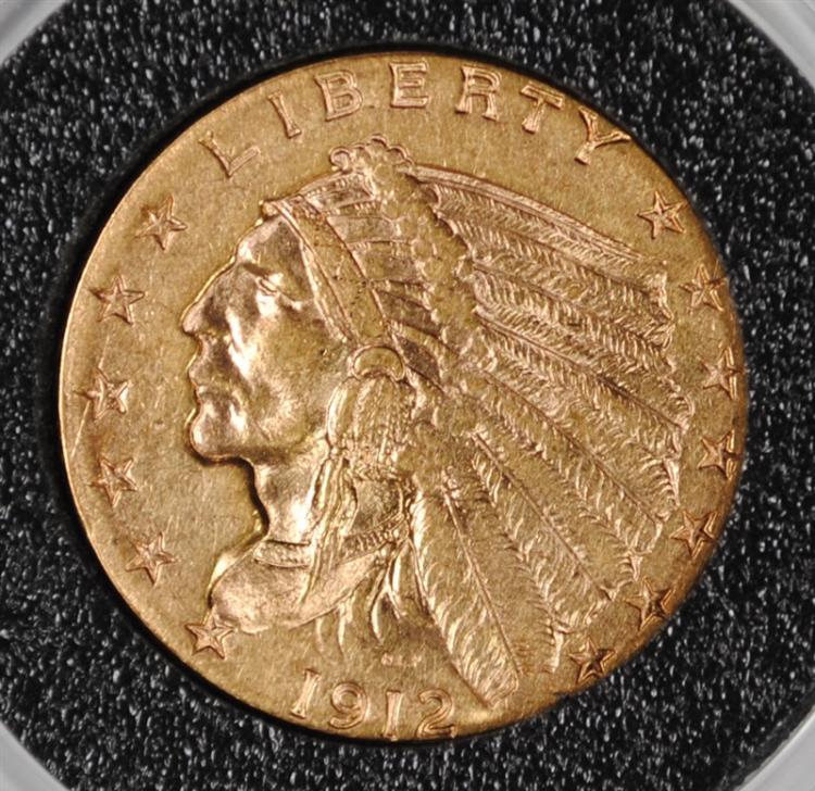 1912 $2.50 GOLD INDIAN, CHOICE BU