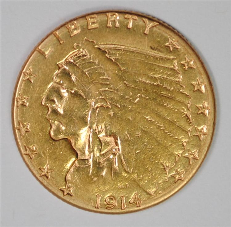 1914 $2.50 GOLD INDIAN, XF
