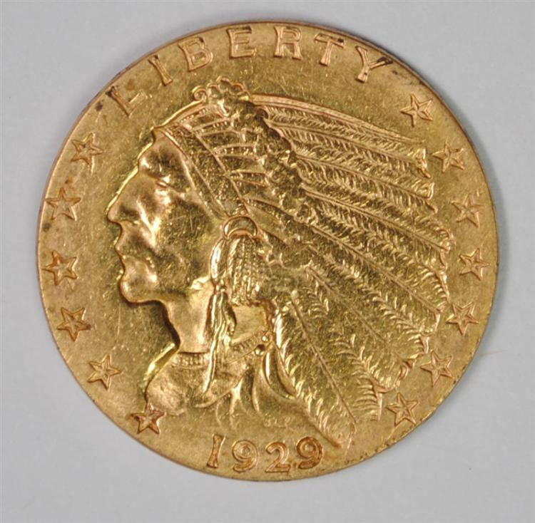 1929 $2.50 GOLD INDIAN, CHOICE BU