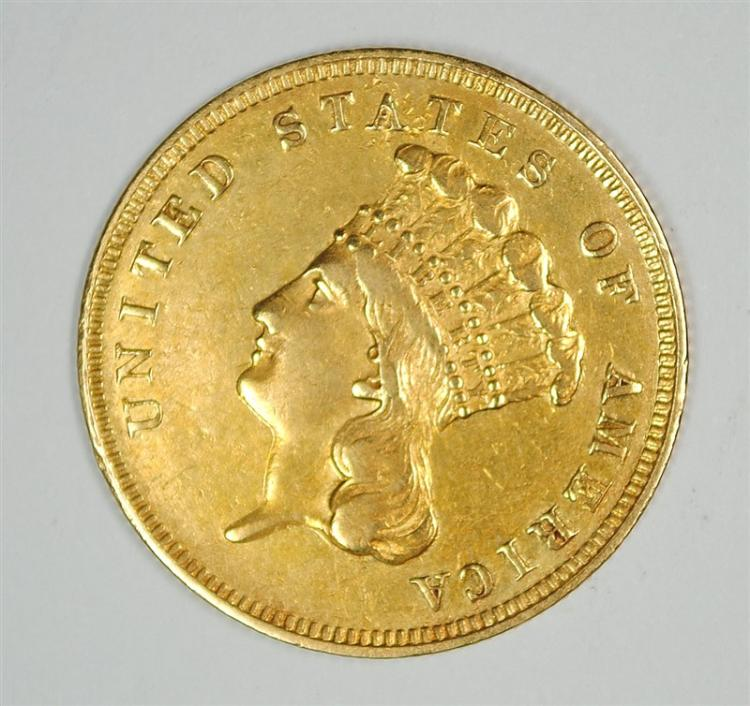 1859 $3 GOLD INDIAN PRINCESS HEAD CHOICE BU