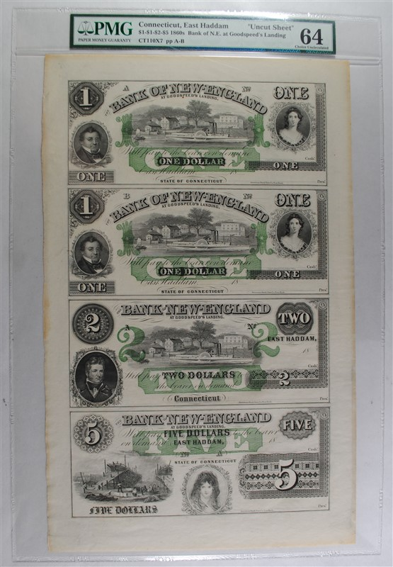 1860'S UNCUT SHEET: BANK OF NEW ENGLAND AT GOODSPEEDS LANDING; SEE DESCRIPTION