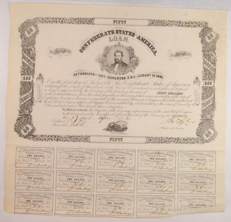 1861 CONFEDERATE $50.00 BOND, CR-18, B-71 J.H. REAGAN POSTMASTER VF R-5 RARE!!