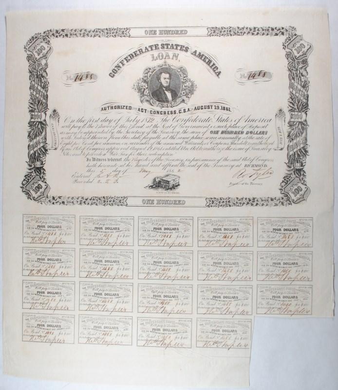 1861 CONFEDERATE STATES OF AMERICA $100.00 BOND CR-34 B-72 MALLORY CSA NAVY, VF