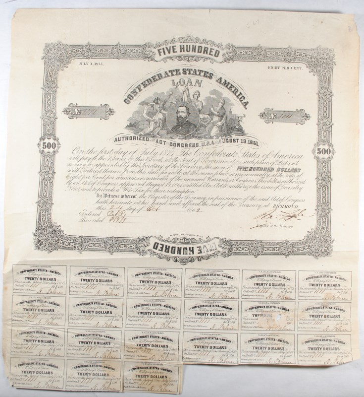 1861 $500.00  CSA BOND, CR-66  B-93 UNIDENTIFIED MAN,  FINE WITH  21 COUPONS