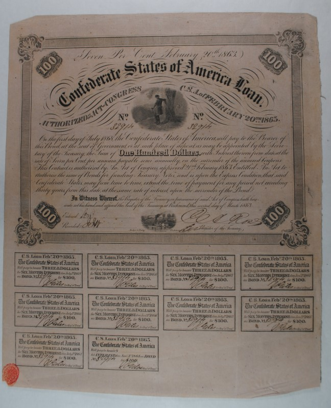1863 $100 CONFEDERATE BOND, CR-120 B-212 OFFICER BY TREE,   WITH ALL COUPONS