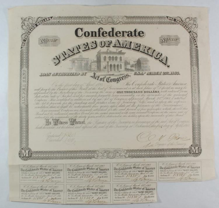 1863 $1000.00 CONFEDERATE BOND, CR130 C, B267 TREASURY OFFICE VF+ WITH 7 COUPONS