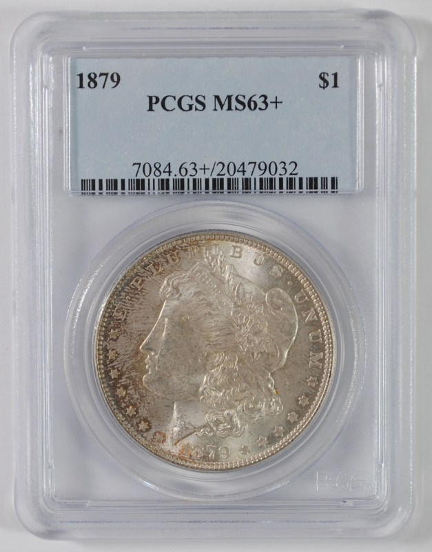 1879 MORGAN SILVER DOLLAR, PCGS MS-63+