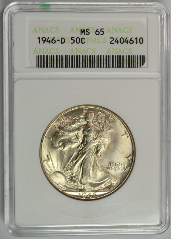 1946-D WALKING LIBERTY HALF DOLLAR, ANACS MS-65
