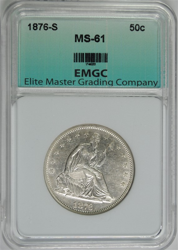 1876-S SEATED HALF DOLLAR, EMGC  CHOICE BU