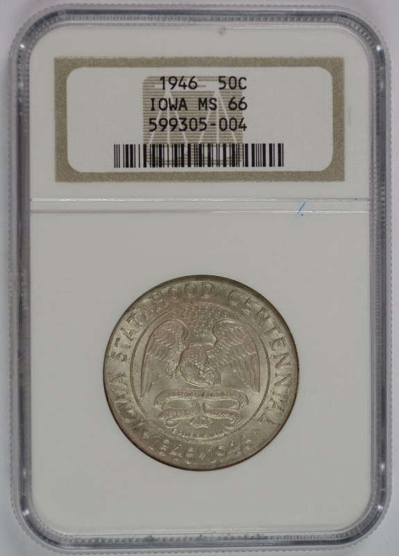1946 IOWA COMMEMORATIVE HALF DOLLAR,  NGC  MS-66!