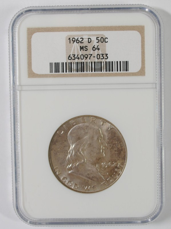 1962-D FRANKLIN HALF DOLLAR, NGC MS-64