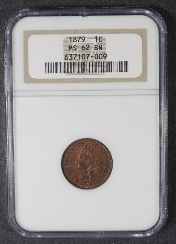 1879 INDIAN HEAD CENT, NGC MS-62 BN