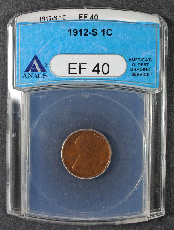 1912-S LINCOLN CENT, ANACS EF-40