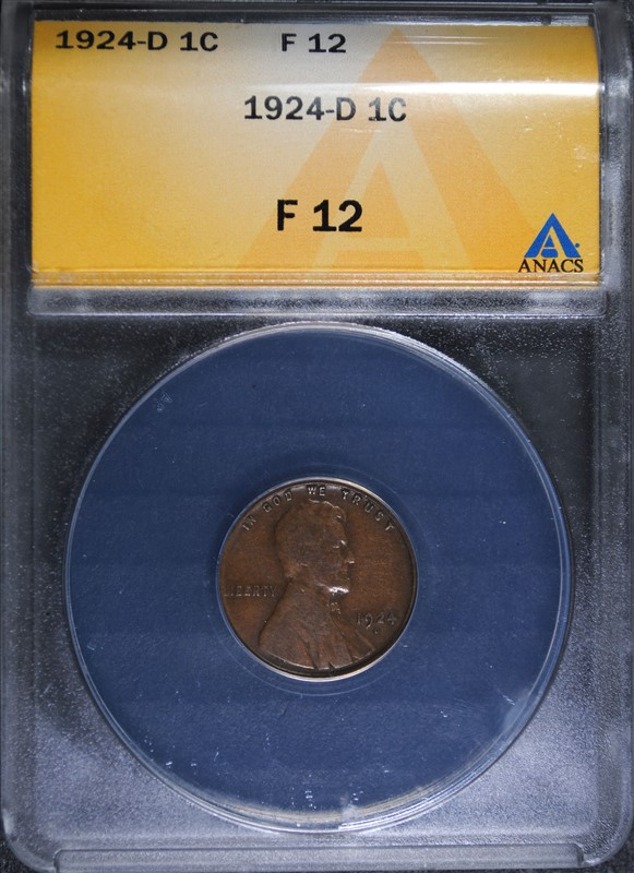 1924-D LINCOLN CENT, ANACS FINE-12