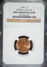 1946 LINCOLN CENT ERROR ( PARTIAL COLLAR )  NGC MS-62  RB
