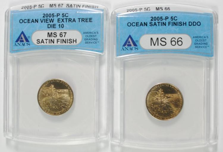( 2 ) ANACS GRADED 2005 P OCEAN VIEW NICKELS: 1-MS-66 & 1-MS-67