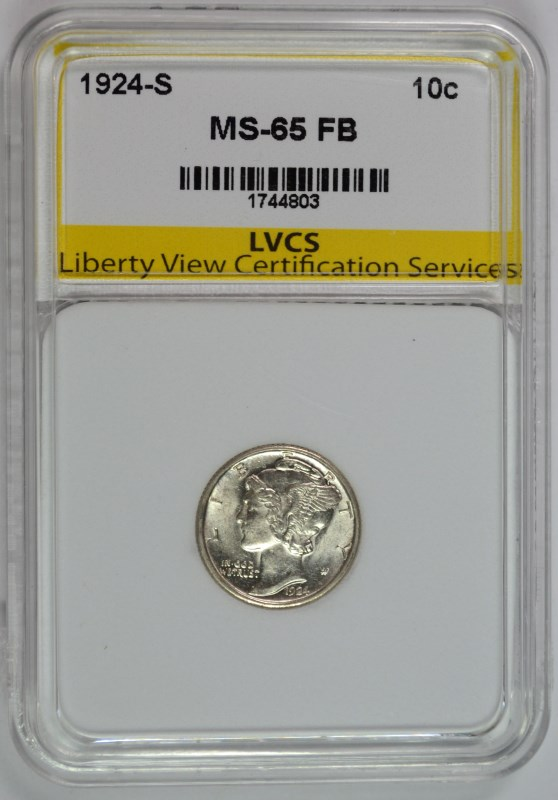 1924-S MERCURY DIME, LVCS GEM BU FULL BANDS SCARCE!!
