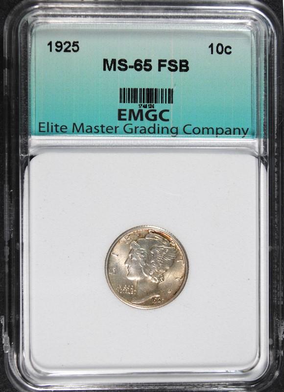 1925 MERCURY DIME, EMGC GEM BU FSB