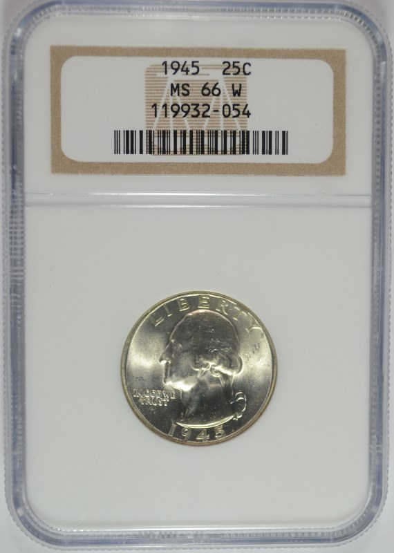 1945 WASHINGTON QUARTER, NGC MS-66 W