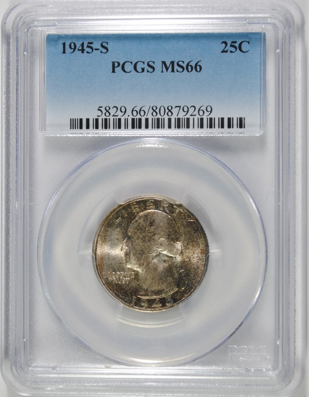 1945-S WASHINGTON QUARTER PCGS MS66