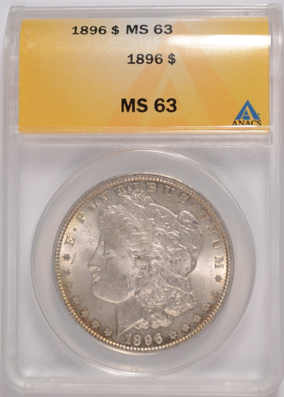 1896 MORGAN SILVER DOLLAR, ANACS MS-63