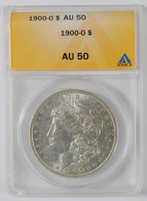 1900-O MORGAN SILVER DOLLAR, ANACS AU-50