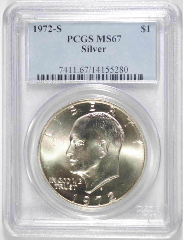 1972-S SILVER EISENHOWER DOLLAR, PCGS MS-67