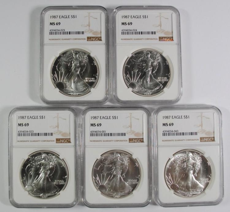 LOT OF ( 5 ) 1987 AMERICAN SILVER EAGLES, NGC MS-69