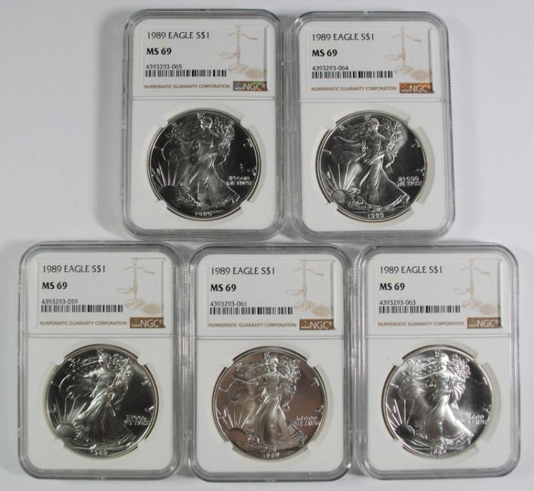 LOT OF ( 5 ) 1989 AMERICAN SILVER EAGLES, NGC MS-69