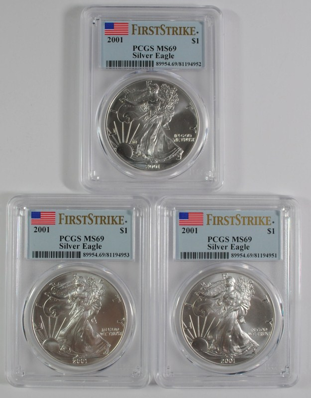 ( 3 ) 2001 AMERICAN SILVER EAGLES, PCGS MS-69 FIRST STRIKE BETTER DATE