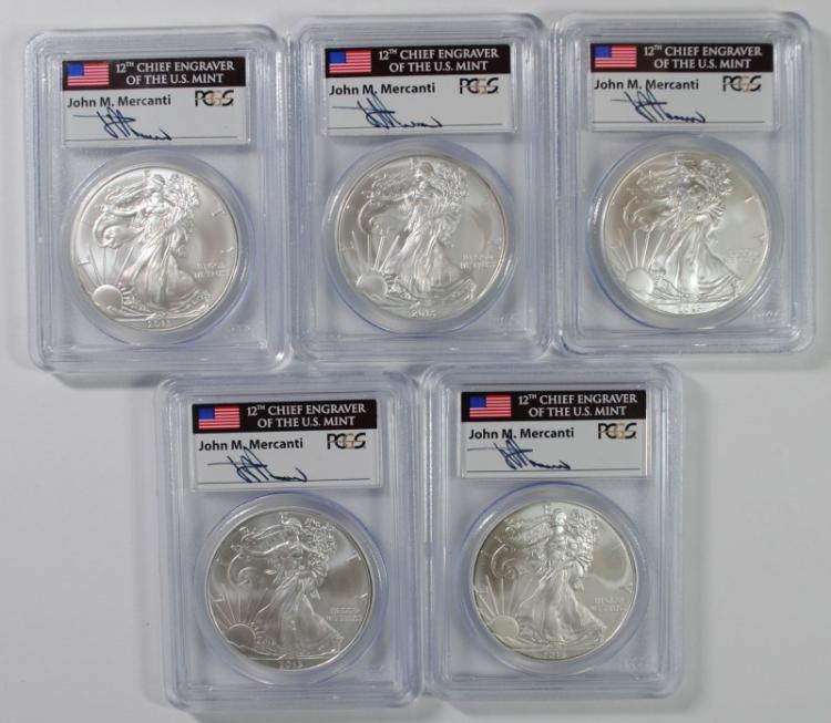 5-2013 AMERICAN SILVER EAGLES, PCGS MS-69 FIRST STRIKE MERCANTI SIGNATURE