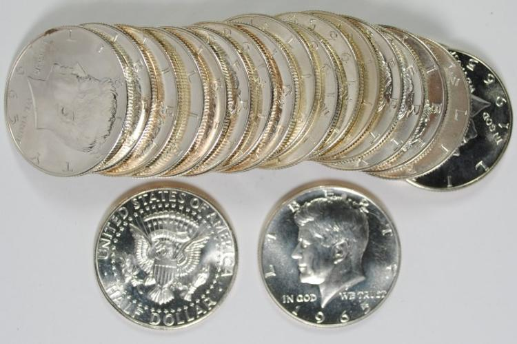GEM BU ROLL OF 1965 SMS KENNEDY HALF DOLLAR ( 20 ) COINS