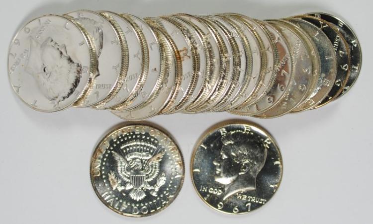 GEM BU ROLL OF 1967 SMS KENNEDY HALF DOLLAR  ( 20 ) COINS