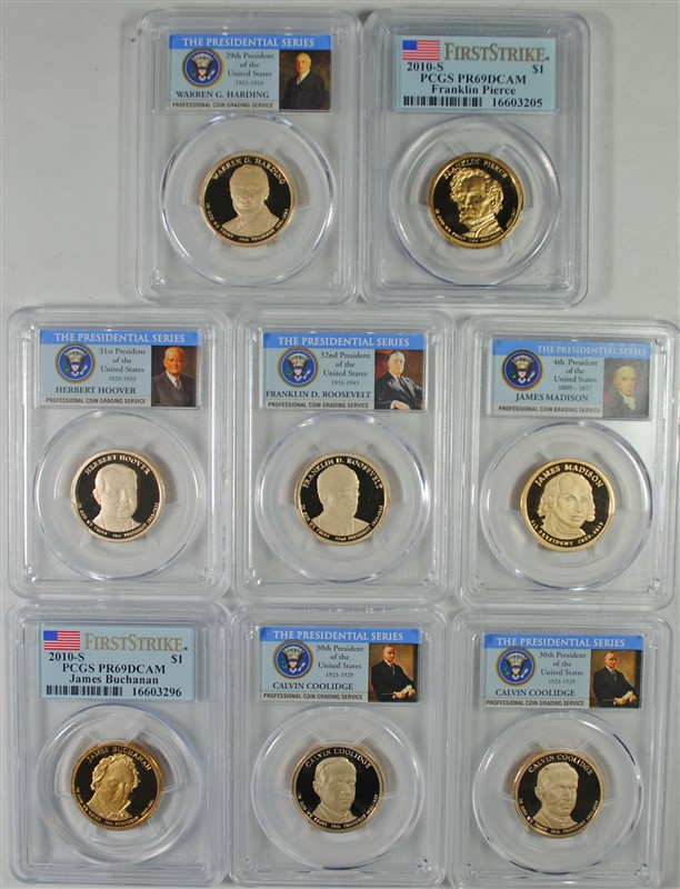 2007-S,10-S & 14-S PRESIDENTIAL DOLLARS PCGS GRADED PR-69 DCAM : SEE DECRIPTION