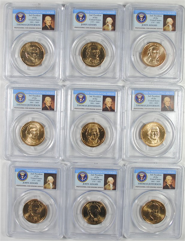( 9 ) PCGS GRADED MS-65 2007-D PRESIDENTIAL DOLLARS 4- JOHN ADAMS & 5-JEFFERSON