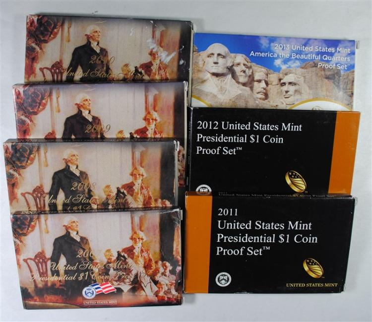 2007 THRU 2013 U.S. PRESIDENTIAL PROOF SET IN ORIG PACKAGING 2012 IS RARE!
