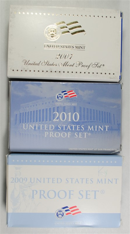 U.S. PROOF SETS IN ORIGINAL BOXES WITH COA: 2007. 2009 & 2010