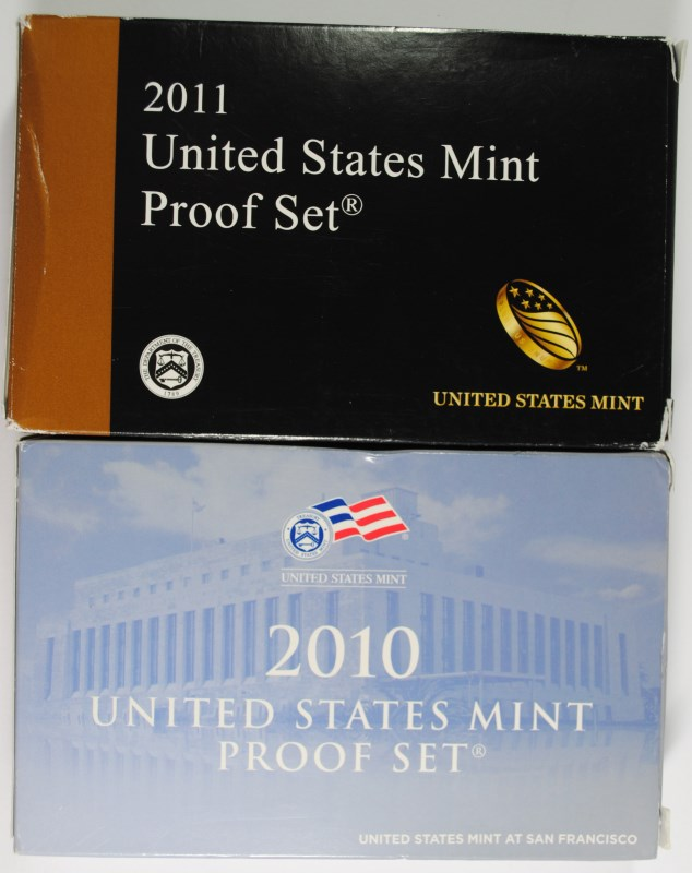 2010 & 2011 U.S. PROOF SETS IN ORIGINAL BOXES/COA