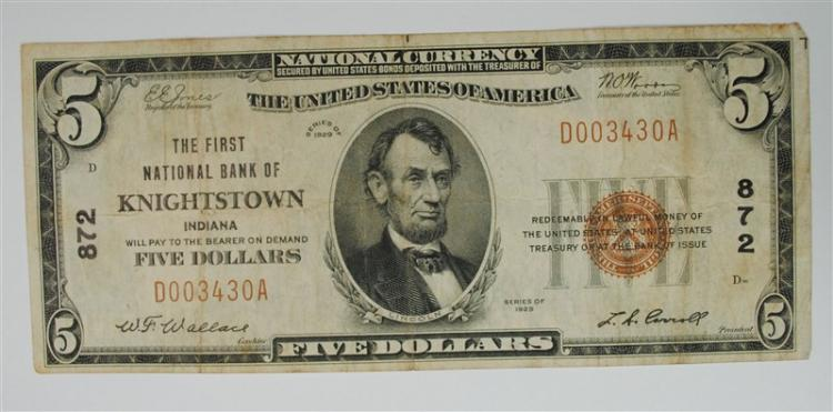 1929 $5 NATIONAL CURRENCY NOTE; KNIGHTSTOWN, INDIANA