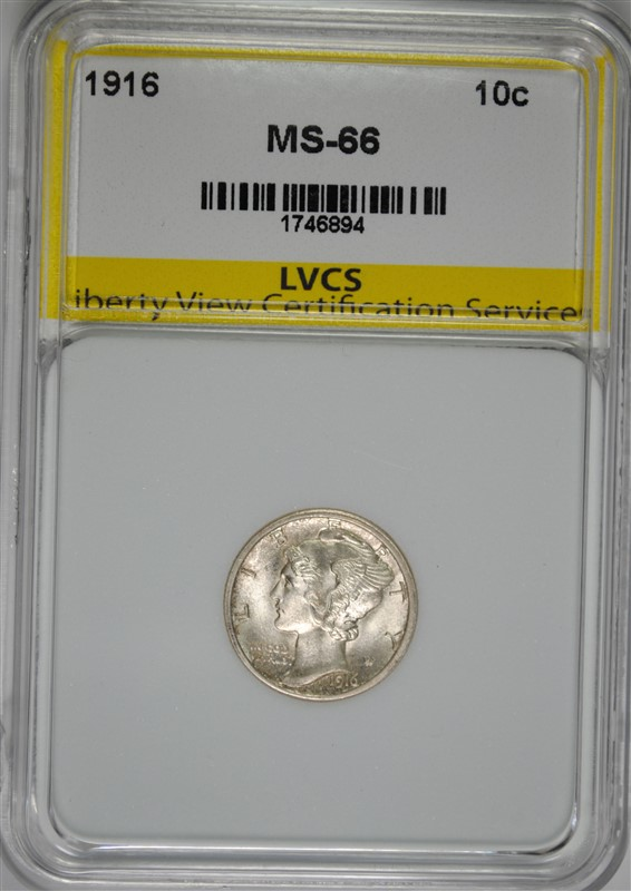 1916 MERCURY DIME, LVCS SUPERB GEM BU