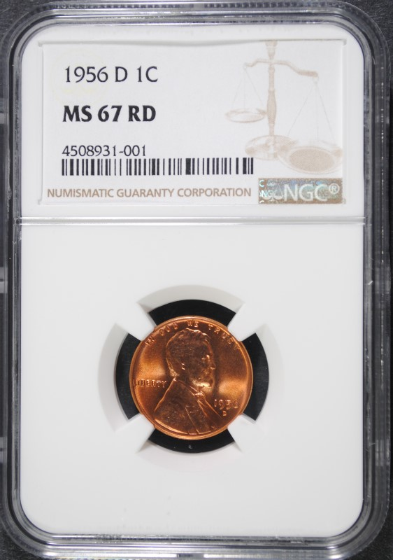 1956-D LINCOLN CENT NGC MS-67 RED NGC PRICE GUIDE=$950.00