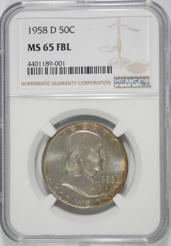 1958-D FRANKLIN HALF DOLLAR, NGC MS-65 FBL