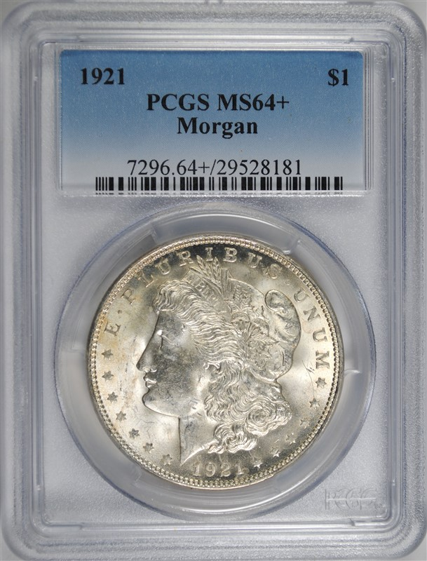1921 MORGAN SILVER DOLLAR, PCGS MS-64+